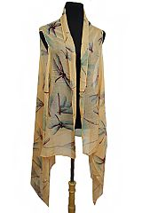 Spring Festivity Dragon Fly Print Semi Sheer Sleeveless Vest Kimono