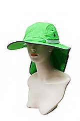 High Visibility Fabric Outlined and Mesh Crowned Fishing Sun Hat with a Neck Cover