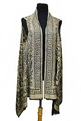 Greek Key Outline Paisley and Daisy Design Super Softness Silk Semi Sheer Sleeveless Cardigan Style