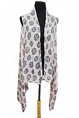 Traditional Hamsa Hand Printed Printed Semi Sheer Sleeveless Vest Kimono