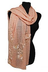 Lace and Bead Flower Pattern Design Hand Made Sewing Chiffon Silk Feel Shawls Scarf