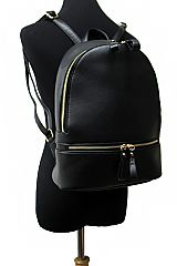 Faux Leather Double Zippered Backpack