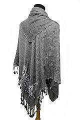 Soft Lace Flower Design with Fringe Blanket Style Shawls