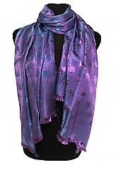 Oriental Silk Satin Touch Elephant Printed Frayed End Scarves