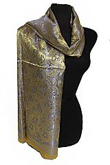 Oriental Silk Satin Touch Floral With Paisley Printed Frayed End Scarves