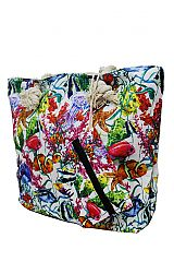 Abstract Digital Printed Floral Aquatic Natural Scenic Canvas Tote Bags