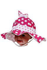 Polka Dot Ruffle Brim Design with Top Bow Baby Hat