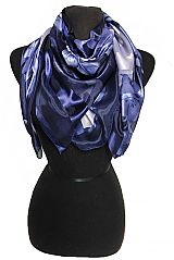 Oriental Garden Blossoms Print Chiffon Silk printed Hanky Scarves