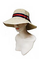 Mixed Two Tone Toyo Straw Bucket Styled Sun Hat with Triple Striped Buckle Band