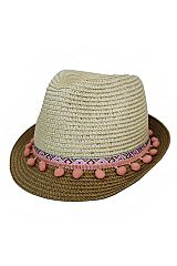Pretty In Pink Pom Pom Boho Chic Fashion Fedora