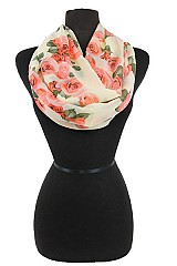 Rose flower Soft Chiffon Feel Infinity scarf.