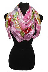 Floral Border Chiffon Silk printed Hanky Scarves