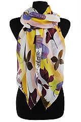 Multicolor Floral Leaf Pattern Scarves & Wraps