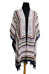 Aztec and Mandala Pattern Super softness Sleeveless Cardigan Style Kimono with tassel