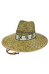Sea Turtle Natural Hay Straw Black Band Outline Outdoor Hat