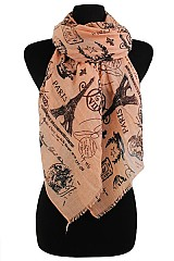 Paris Pattern Inspired Scarves & Wraps