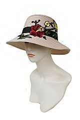 Stem Of Floral Blossomed Applique Fashion Lady Bucket Style Sun Hat