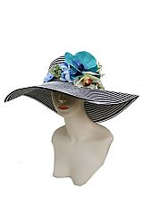 Infinite Stripe Floral Aquamarine Blossoms Crafted  Derby Fashion Boho Braided Floppy Sun Hat