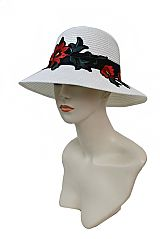 Bright Red Orchid Blossom Stem Floral Patch Fashion Bucket Style SunHat