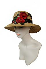 Bouquet Deep Red Floral Embroidered Applique Patchwork Bucket Hat