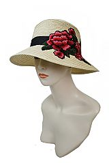 Oversized Blossom Peony Embroidered Applique Bucket Sun Hat