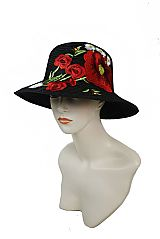 Deep Red Oversized Gardenia Floral Bouquet Fashion Ladies Bucket Hat