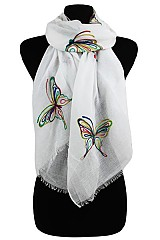 Stitched Colorful Butterfly Scarves & Wrap.