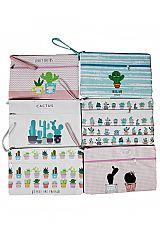 Chic Cactus Cartoon Novelty Double Zipper Pouch Bag