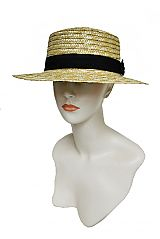 Mini South Beach Straw Boater Hat with Black Band