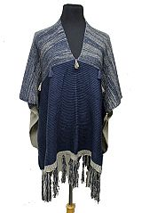 Color Block And Pattern Tiny Tassel V neck Poncho