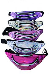 Reflective Metallic PVC Fanny Pack with Triple Zippers