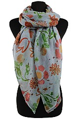 Painted Flower Pattern Soft Scarves