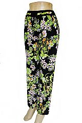 Spring Wildflower & Scarlet Flower Printed Palazzo Pants with Pockets