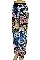 Nerines and Butter Cup Flower Printed Palazzo Pants with Pockets
