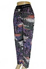 Abstract Glitch & Doodle Printed Palazzo Pants with Pockets