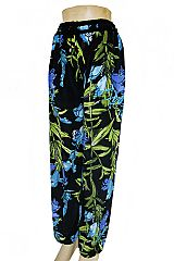 Blue Orchid Flower Printed Palazzo Pants with Pockets
