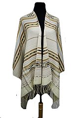 Modern Aztec Printed Wool Blended Ruana Cape Style Poncho
