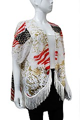 American Flag Pattern Soft Kimono With Fringe Accents