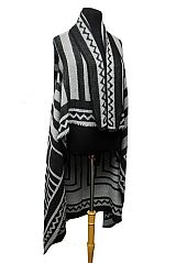 Striped Geometric Pattern with Hand Sewing Out Line design Long Sleeveless