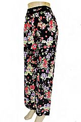 Poppy and Peony Flower Printed Palazzo Pants with Pockets