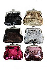 Compact Cultural Icon Sequins Coin Purse