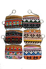 Aztec Pattern Collection Zip Up Coin Bags