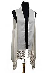 Solid Fine Leaves Lace Trimmed Softness Semi Sheer Sleeveless Cardigan Style and Scarf
