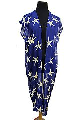 Starfish All Print Design Long Styled Kimono Cover Up