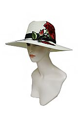 Enchanted Red Rose Wide Brimmed Original Classy Panama Hat