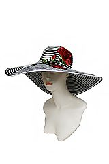 Enchanted Red Rose Wide Brimmed Stripped Original Classy Floppy Hat