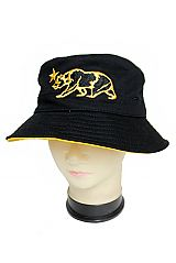 California Republic Iconic Bear With Shimmer Threading Cotton Bucket Hat