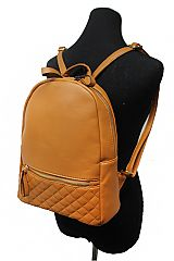 Faux Leather Quilted Bottom School Fashion Book Bag Double Zippered Backpack
