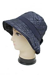 Quilted Rain Bucket Hat With Bow Detail