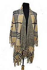 Plaid Pattern Double Design with fringe Spandex Cashmere Feel Long Sleeve Cardigan Vest